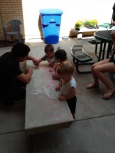 Chalk drawing with kids